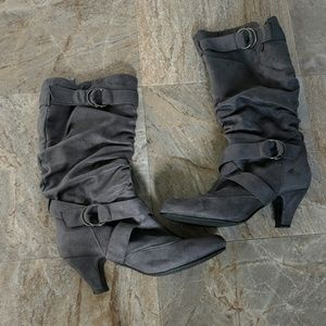 Gray suede heeled boutique boots